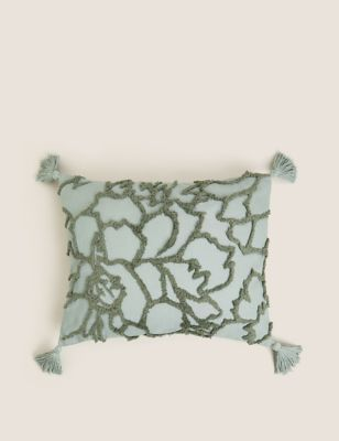 Cotton Floral Tufted Bolster Cushion