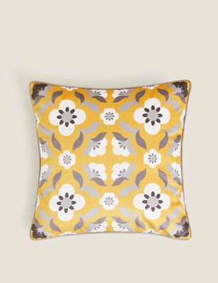 Velvet Retro Floral Print Cushion