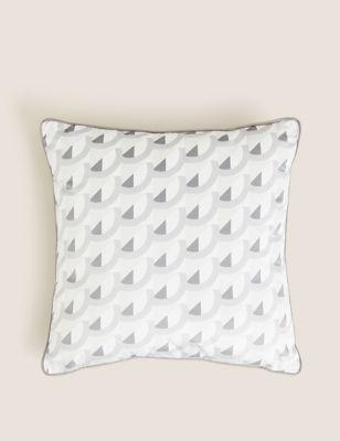Velvet Geometric Print Cushion