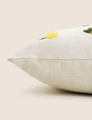 Pure Cotton Lemon Medium Tufted Cushion