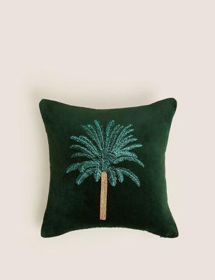 Cotton Velvet Embroidered Palm Cushion