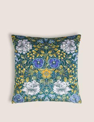 Velvet Mirror Floral Print Cushion