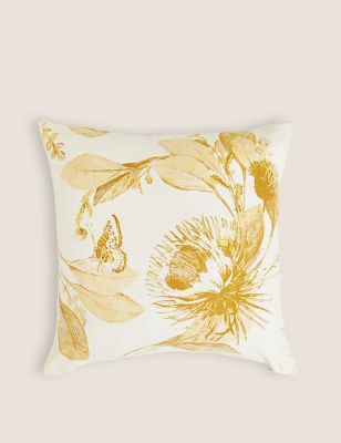 Linen Mix Floral Cushion