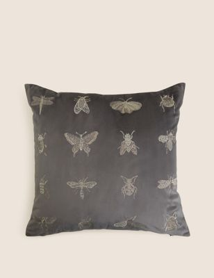 Velvet Insect Embroidered Cushion