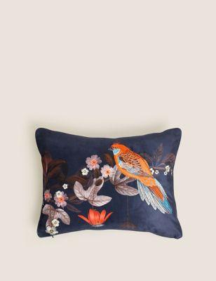Bird Embroidered Bolster Cushion
