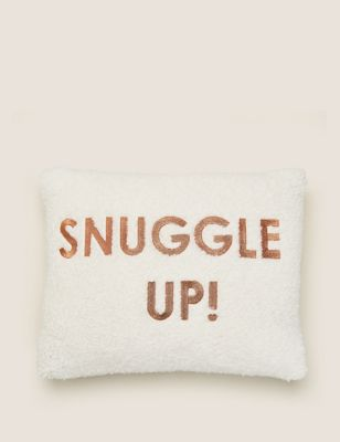 Snuggle Up Embroidered Bolster Cushion