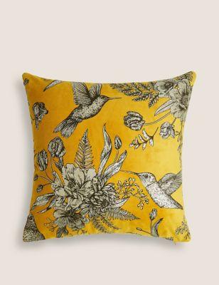 Velvet Foil Bird Medium Metallic Cushion