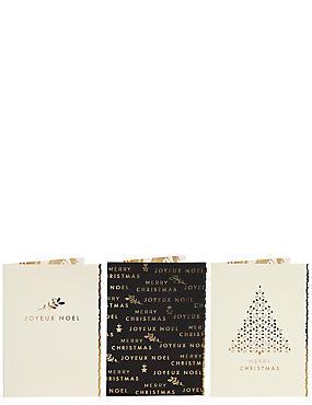 Gold Joyeux Noel Christmas Charity Cards Pack of 15, , catlanding