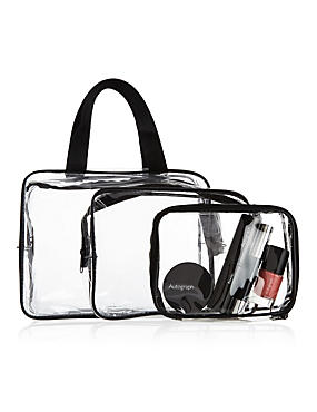 Outstanding Value 3 Piece Clear Cosmetic Bag Set, , catlanding