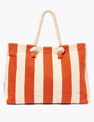 Cotton Blend Striped Shopper Bag