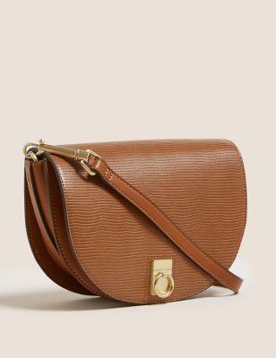 Faux Leather Saddle Cross Body Bag