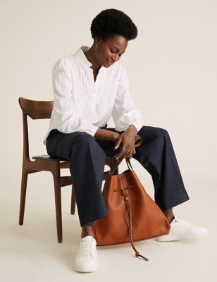 Faux Leather Drawstring Tote Bag