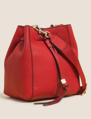 Faux Leather Drawstring Cross Body Bag