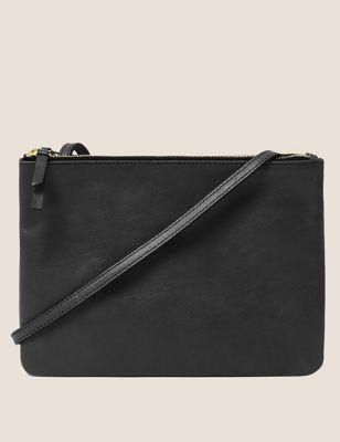 Leather Double Zip Cross Body Bag