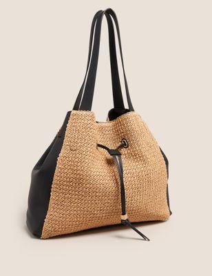 Drawstring Straw Tote Bag