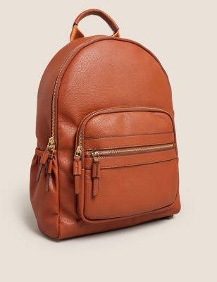 Faux Leather Zip Around Backpack