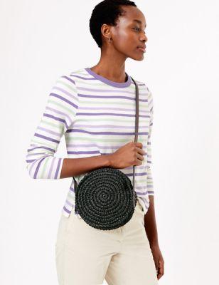 Straw Circle Cross Body Bag