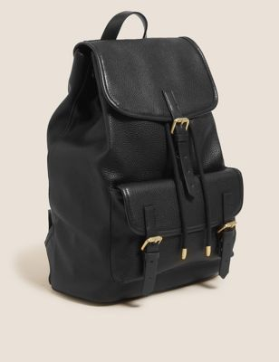 Faux Leather Buckle Detail Backpack