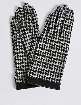 Houndstooth Gloves with Cuff, BLACK MIX, catlanding