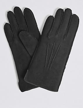 Leather Stitch Detail Gloves, BLACK, catlanding