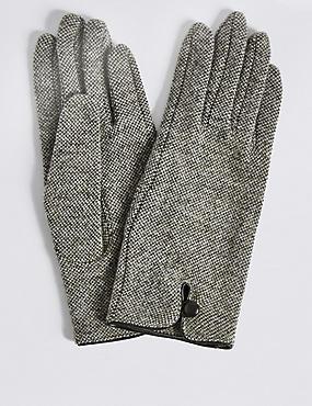 Wool Rich Button Loop Gloves, NATURAL MIX, catlanding