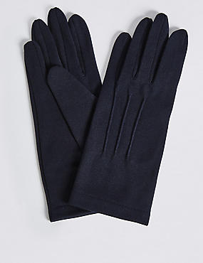 Stitch Detail Gloves, NAVY, catlanding