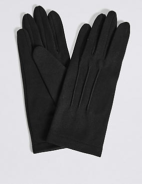 Stitch Detail Gloves, BLACK, catlanding