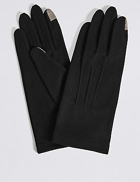 Touchscreen Jersey Gloves, BLACK, catlanding