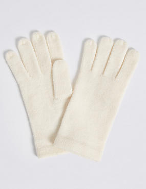 Soft Knitted Gloves, CREAM, catlanding