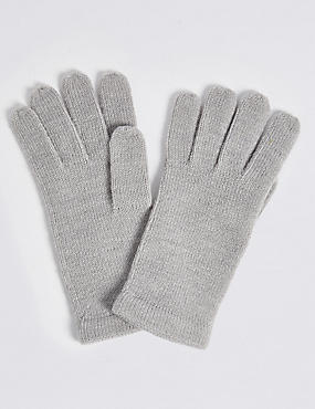 Soft Knitted Gloves, GREY MIX, catlanding