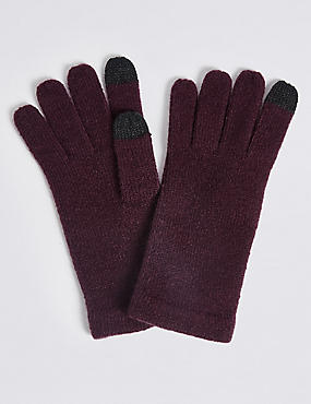 Knitted Touchscreen Gloves, DARK GRAPE, catlanding