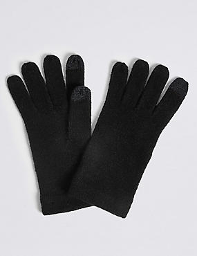 Knitted Touchscreen Gloves, BLACK, catlanding