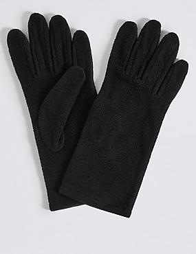 Fleece Gloves, BLACK, catlanding