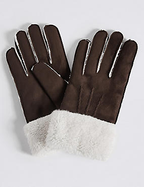 Faux Fur Shearling Gloves, CHOCOLATE, catlanding
