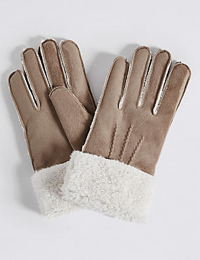Faux Fur Shearling Gloves, NATURAL, catlanding