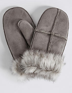 Fur Mitten Gloves, GREY, catlanding