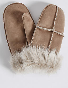 Fur Mitten Gloves, NATURAL, catlanding