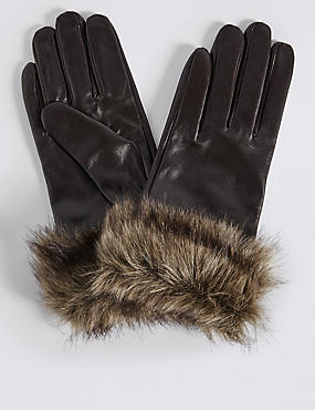 Leather Fur Cuff Gloves, CHOCOLATE, catlanding