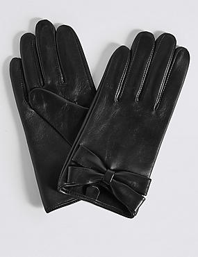 Leather Bow Detail Gloves, BLACK, catlanding