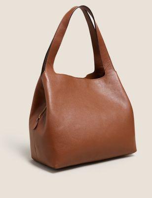 Leather 3 Part Construction Shoulder Bag