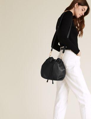 Leather Duffle Cross Body Bag