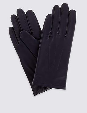 Leather Stitch Detail Gloves, NAVY, catlanding