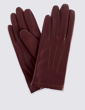 Leather Stitch Detail Gloves, BURGUNDY, catlanding