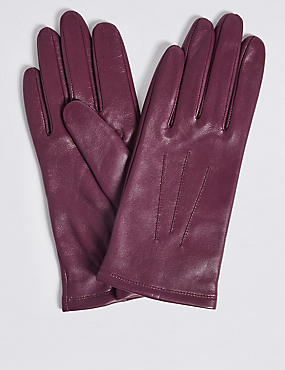 Leather Stitch Detail Gloves, MAGENTA, catlanding