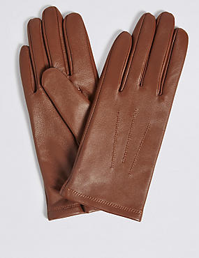 Leather Stitch Detail Gloves, DARK TAN, catlanding
