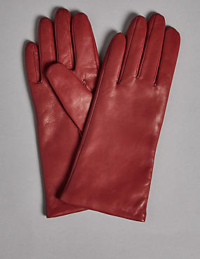 Cashmere Lined Leather Gloves, RED, catlanding