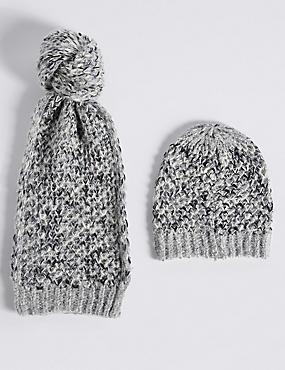 Honeycomb Scarf & Hat Set, BLACK MIX, catlanding