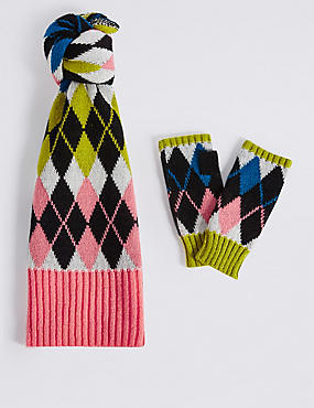 Argyle Print Scarf & Gloves Set, MULTI, catlanding