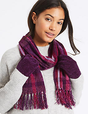 Checked Scarf & Gloves Set, PURPLE MIX, catlanding