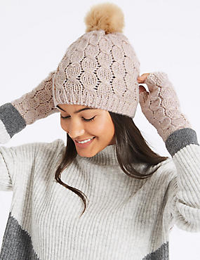 Knitted Hat & Gloves Set, BLUSH, catlanding